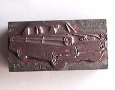Automotive Printing Block Solid Metal Vintage Car Mercury? Print Advertising 60s