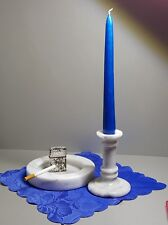 Vintage Alabaster Set of Ashtray and Candle Holder Hand Crafted