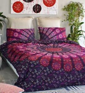 Indian Pink Peacock Mandala Handmade Bedding Cover Comforter Blanket Hippie