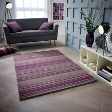 CARTER BERRY PURPLE LUXURY STRIPED WOOL RUG IN VARIOUS SIZES AND RUNNER