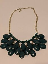 Vintage Statement Necklace Green Multilayer Teardrop and Round Beeds Gold Tone