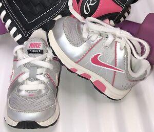 NIKE T-Run 5 Silver/Pink/White Toddler Girl Size 4C 443989-101