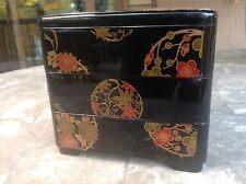 Asian Style Stackable Box Container Hard Plastic Lacquerware Style