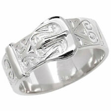 925 Sterling Silver Solid Men's Buckle Patterned Ring O-Z Sizes - Gift Boxed