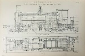 ANTIQUE PRINT DATED C1870'S LOCOMOTIVE ENGRAVING BOGIE PASSENGER ENGINE TRAINS