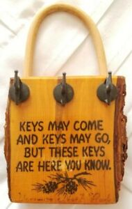 Yosemite National Park Redwood Tree Section Key Holder Vintage Handmade 3 Hooks
