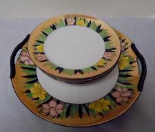"Noritake Daffodil Handled Plate 9.5"" Across & 4 Plates 6 3/8"" Across Vintage"