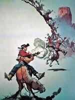 FASTEST GUITAR IN WORLD Frank Frazetta Vintage Art Color Plate Cowboy Shotgun