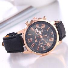New Fashion Geneva Women Leather Band Stainless Steel Quartz Analog Wrist Watch