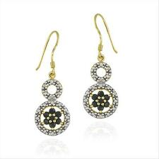 18K Gold over 925 Silver Sapphire Flower & Diamond Accent Circle Earrings