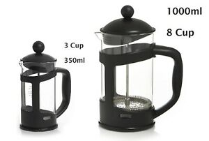 FRENCH PRESS TEA COFFEE MAKER CAFETIERE PLUNGER 3, 8 CUP GLASS JUG 350ML 1L