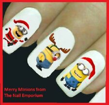 Christmas Nail Art Decals Water Transfers Wraps Stickers Minions Santa #2034