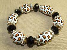 White Textured Art Glass & Black Faceted Rondell Beaded Stretch Bracelet