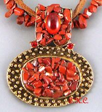 Boho Gypsy Gothic Regency Ethnic Gold, Fused Red Jasper, Leather Wag Necklace