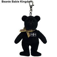 TY BEANIE * KERNOW * BLACK CORNWALL TEDDY BEAR METAL KEY CLIP - UK EXCLUSIVE