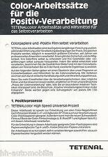 Prospekt Tetenal Color Arbeitssätze Positiv Verarbeitung 80er J. Fotochemikalien