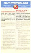 Safety Card - Southwest - B737 - 8/98 (S2464)