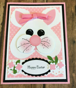 Happy Easter Bunny Hand Stamped Card - Pink - Blank Inside - Stampin' Up