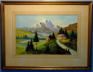 Beautiful Mid Century Landscape Gouache by Francis Kiraly (20th c.)
