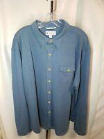 Coolibar Men's Button Down Long Sleeve Solid  Blue UPF 50+ shirt Size  XXL