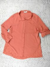 UMGEE Coral Peachy-Pink Tab Sleeve Drawstring Button Up Lace Trim Top, Sz 2XL
