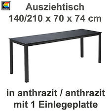 Kettler Ausziehtisch 140/210 x 70 cm Balkontisch Gartentisch in anthrazit