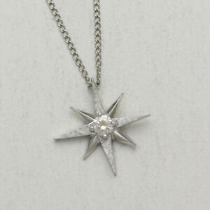 14K White Gold Etched Star .16 Diamond Pendant 15 Inch Long Necklace