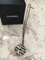 CHANEL Black White Pearl Gold Icons Coco Pendant Necklace