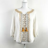 LUCKY BRAND Embroidered Boho Peasant Blouse Tassels Gold Cream Wide Neck Size S