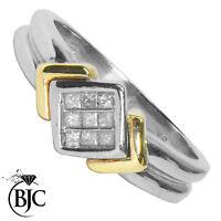 Bjc 9Ct Oro Blanco & Amarillo Diamante 0.10ct Tamaño N Grupo Anillo de
