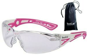 Bolle 40254 Rush+ Small Safety Glasses Pink/White Temples Clear Anti-Fog Lens
