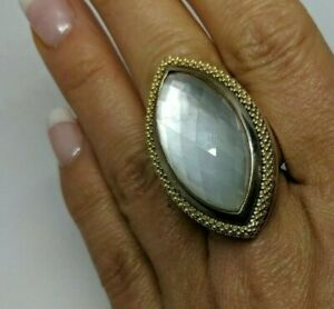 """1.5"""" Tall Lagos Caviar Sterling Silver 18k Marquise Mother of Pearl Doublet Sz 8"""