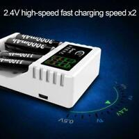 Smart Akku Schnellladegerät für AA AAA 4 Ports LED-Anzeige Pretty C4Q4 D3F0 Y8Y5