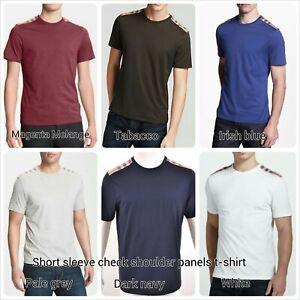 Burberry brit men's  short sleeve check shoulder patch t-shirt size s,m,l,xl