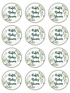 Baby shower green foliage personalise edible printed cupcake Toppers Wafer icing