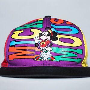 Vintage Mickey Mouse Multi Colored Color Blocking Snapback OSFA