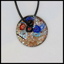 Fashion Women's round lampwork Murano art glass beaded pendant necklace #A40