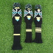 3 Pieces/Set Golf Iron Headcovers Putter Mallet Knitted Pom Pom Socks Protector