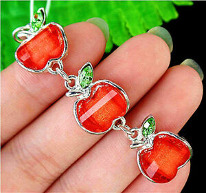 18x14x5mm Red Czech Lampwork Glass Apple Cell Phone Accessories Chain AP13595