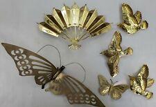 Lot Of Brass Wall Art Decor Birds Butterflys Fan
