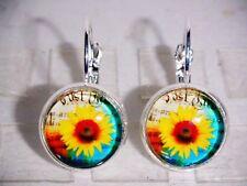 Ohrringe Sonnenblume Florales Damen Ohrschmuck Modeschmuck Leverback Glas Gelb
