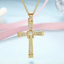 NEWToretto Cross Pendant Necklace Christian Fast & Furious Vin Diesel Gold