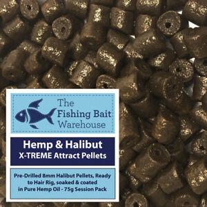 Hemp & Halibut X-TREME Attract Pellets 75g - Pre Drilled 8mm Pellets, Fishing