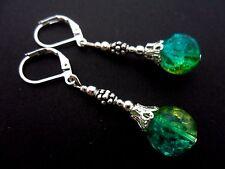 A PAIR  TIBETAN SILVER BLUE/GREEN CRACKLE GLASS BEAD  LEVERBACK HOOK EARRINGS.