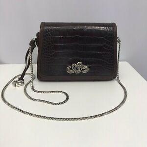 Brighton Leather Purse Brown Moc Crocodile Flap Beautiful Silver Hardware