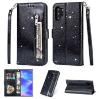 Bling Sparkle Leather Zip Pocket Flip Wallet Case Cover For Samsung Galaxy Phone