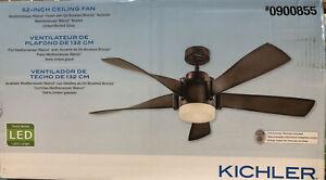 KICHLER 52  in Ceiling Fan Mediterranean Walnut Finish Brushed Bronze Remote