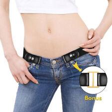 Schwarzer Unisex-Gürtel ohne Gürtelschnalle Für Jeans Hosen Kleid Stretch Gürtel