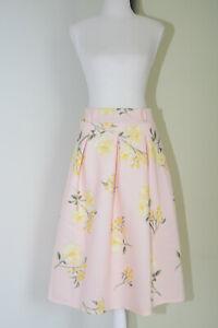 Miss Selfridge Light Pink Floral Pleated Skirt Size 8
