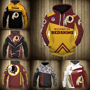 Washington Redskins Hoodie Men Sports Sweatshirt Pullover Football Hooded Jacket